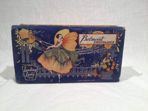 BEAUTIFUL ANTIQUE BELMONT CHOCOLATES CANDY BOX, LEADING LADY DESIGN, Ca. 1920s