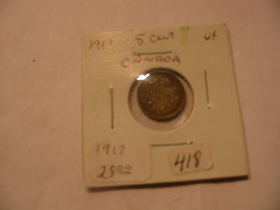1917 CANADIAN NICKEL 5 CENTS CANADA COIN  SILVER
