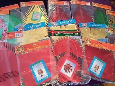 Job lot of 15 Vintage / Retro Foil Christmas Ceiling Hanging Decorations