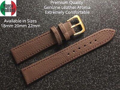 18 20 22mm M Pallini  Premium Brown Stitched Leather Dress Strap Gold Buckle