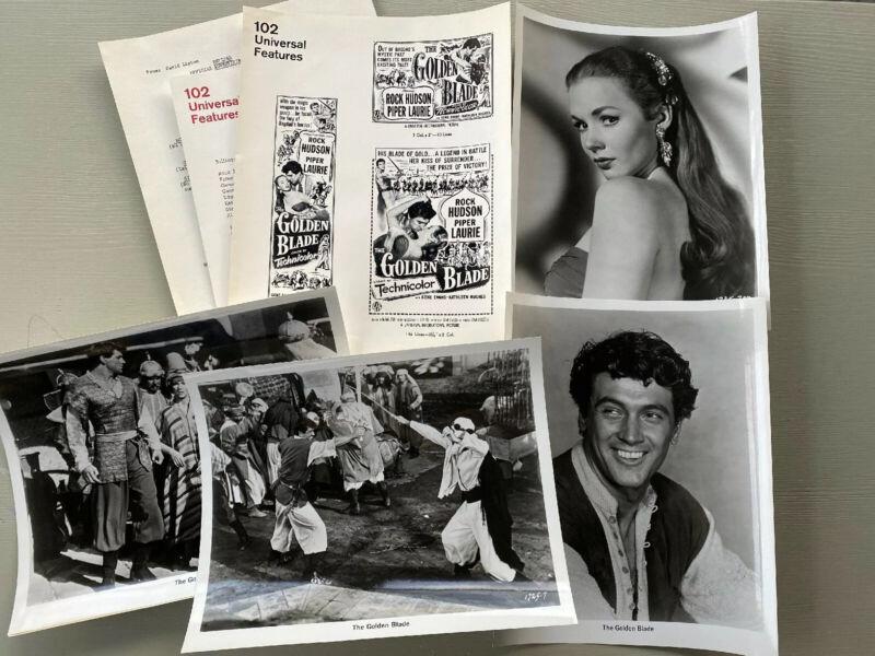 VTG THE GOLDEN BLADE Movie Promo Press Kit Photos Newspaper Ads UI Rock Hudson