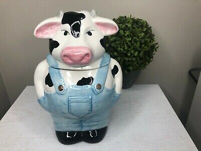 Savoy Housewares Holstein Cow With Overalls Cookie Jar