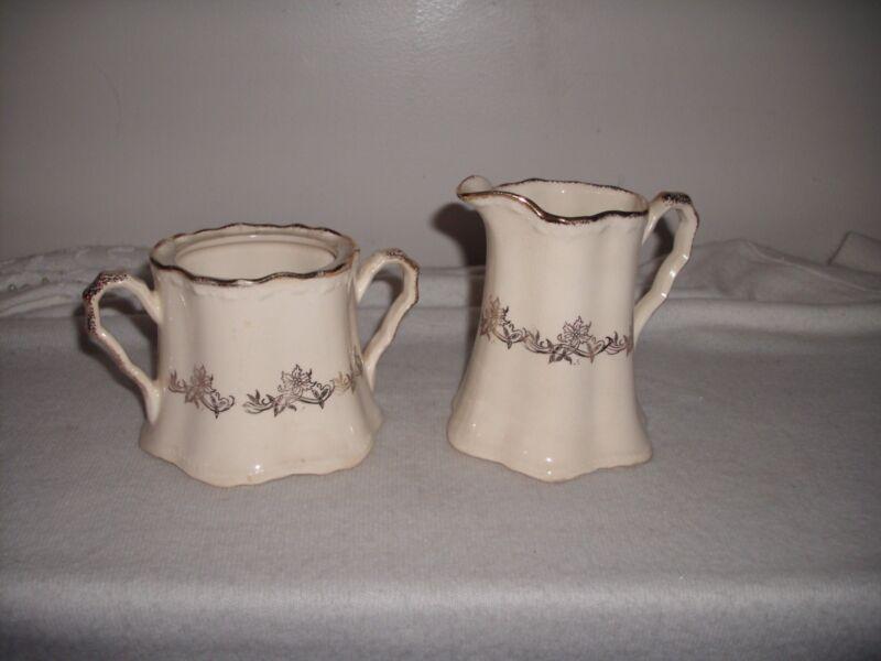 Crooksville China Co.  Cream Gold Floral Creamer & Sugar Bowl #1144