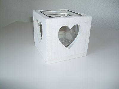 Teelicht Windlicht Deko Herz Holz weiß schabby chic Glaseinsatz