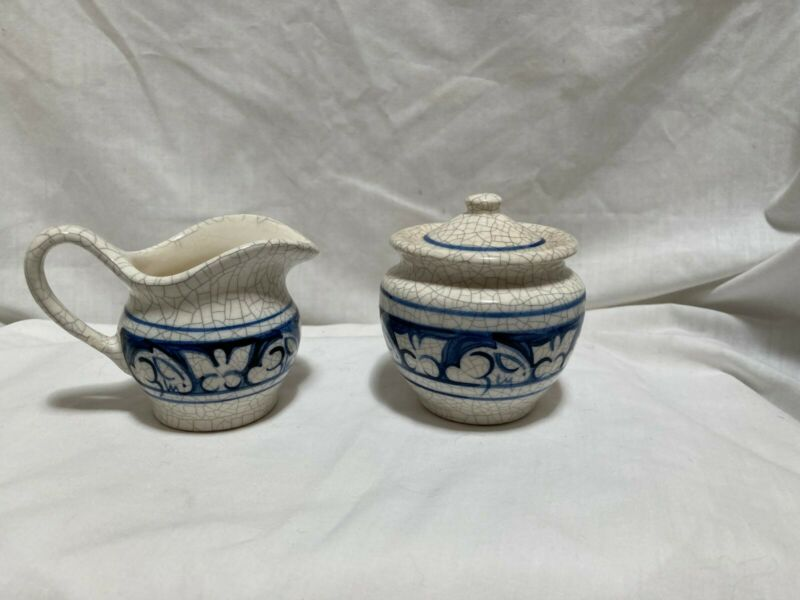 Vintage Dedham Rabbit cream and sugar set 1987. Small chip and mended handle.