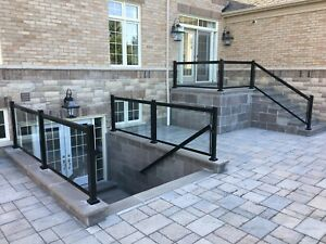 Railing porch deck glass walkout gate balcony column.Homestars✅