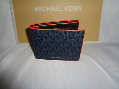 MICHAEL KORS COOPER SLIM BILLFOLD BIFOLD MK LOGO ADMIRAL BLUE BRIGHT ORANGE MENS