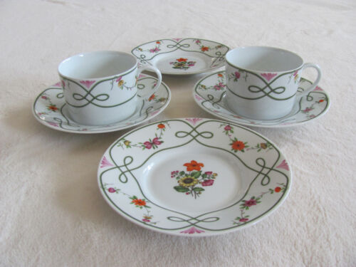 Ceralene Guirlandes Limoges France-Floral on White-2 Cups with 4 Saucers + 1 cup