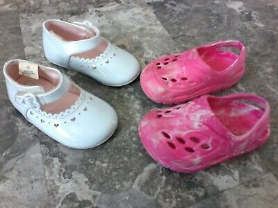 White Dress Pink Shoes (shoes baby infant white dress pink crocs size 3 lot of 2)