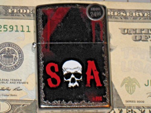 New Windproof Flame ZIPPO USA LIGHTER 28836 SOA Sons of Anarchy Skull Bluebush