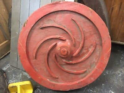c1940's shipyard WOODEN factory mold - RED circle w/spiral detail - 23