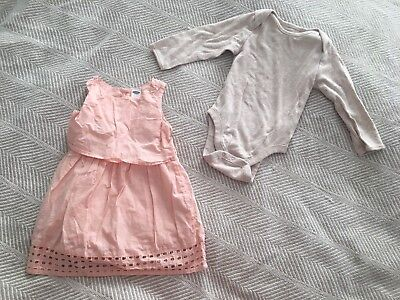 Lot of 2 Girls 12-18 Month Outfits Dress Jumpsuit Pink Eyelet Tan Old Navy EUC!