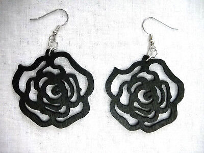 NEW FLORAL BLACK CUT OUT ROSE FLOWER SILHOUETTE WOODEN DANGLING FLOWERS EARRINGS