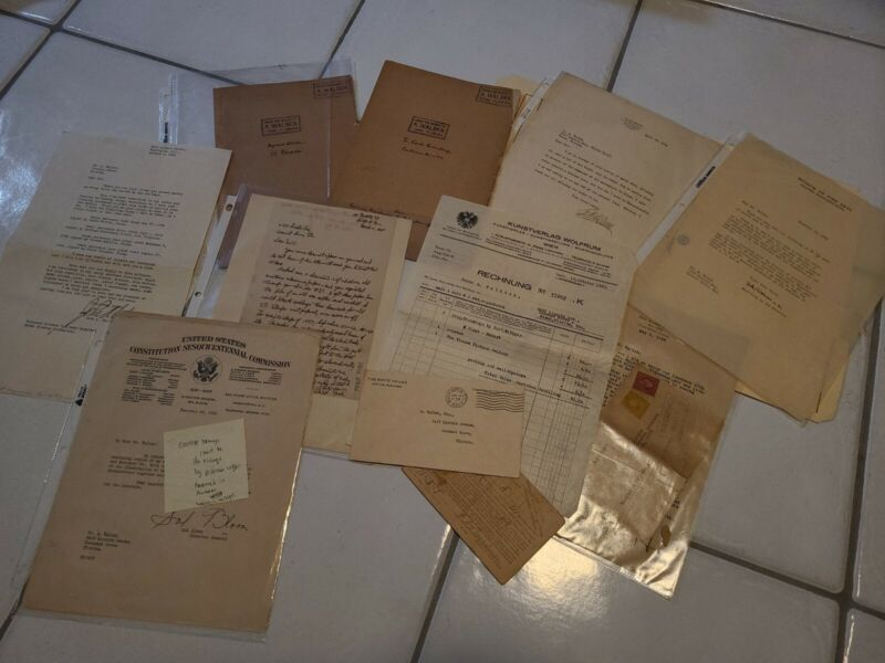 RARE 1920-1938 Letter and Document Collection Alfred Walbek White House War Dept