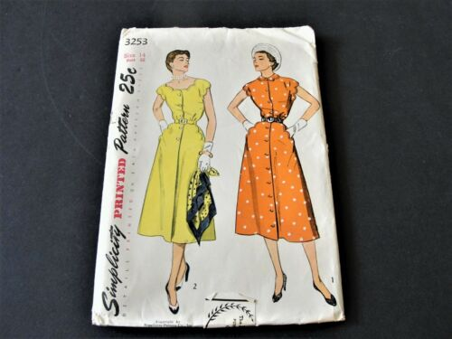 Simplicity 3253-Misses One-Piece Dress -Size 14-Sewing Pattern 1950s-Sealed.