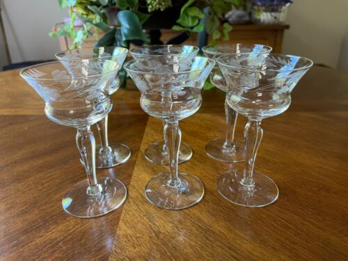 """Six (6) Vintage Sherry Cordial Glasses Etched Floral 5 1/8"""""""