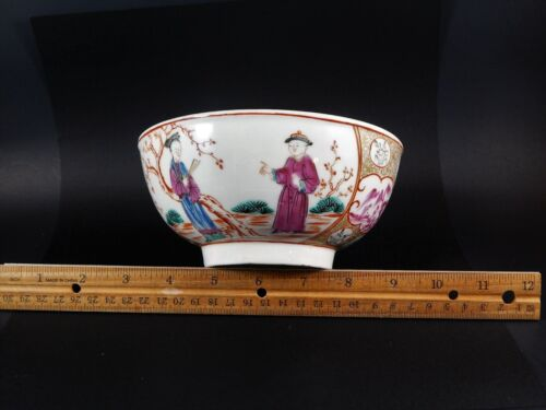 Antique English Asian Bowl Worcester Dr Wall  Circa 1760 Painted by James Giles