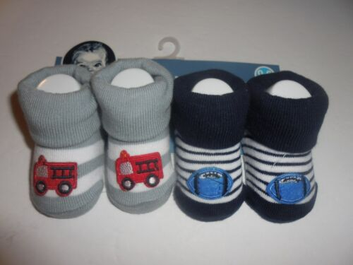 NEW GERBER 2 PACK BOYS BOOTIE SOCKS SIZE 0 - 6 MOS  - FIRE ENGINE & FOOTBALLS