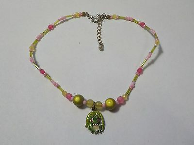 Frog Pendant With Pink & Green Beads 12