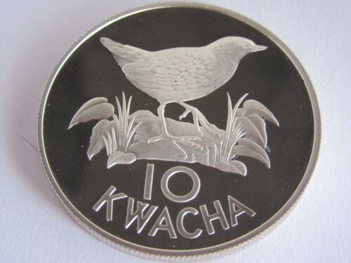 1986 ZAMBIA White-Winged Flufftail,10 Kwacha Silver Proof Coin, COA