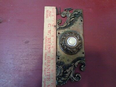 AUTHENTIC ANTIQUE READING HARDWARE CO RHC HEAVY CAST BRONZE DOORBELL BUTTON #1