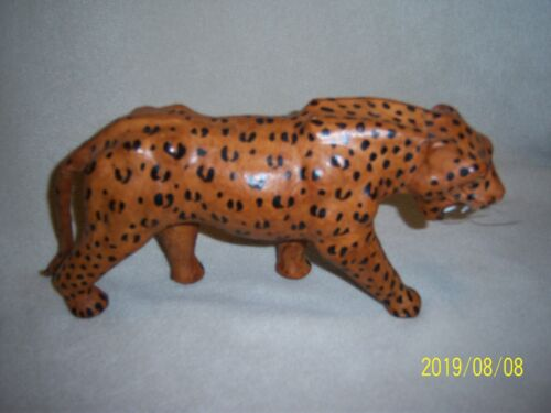 Leather Covered Leopard/Cheetah Figurine/Statue