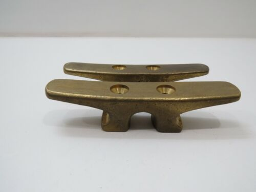 Pair 5 inch Long Bronze Boat Cleat Sail Dock -(D3A865)