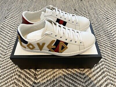 Gucci Ace 'LOVED' Trainers Size 37.5 4.5 Excellent Condition RRP £515