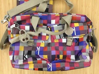 Kipling Geometric Check Purple Colorful Large Baby Bag with Changing Mat