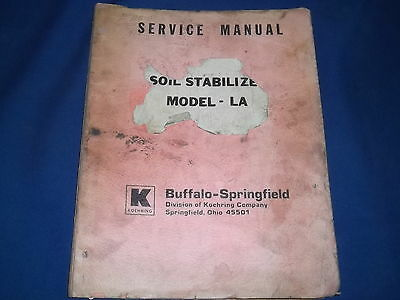 Koehring Buffalo Springfield La88 Soil Stabilizer Parts Book Manual