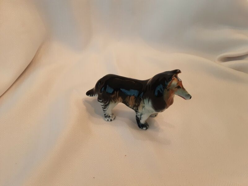 Vintage Collie Dog Figurine Japan