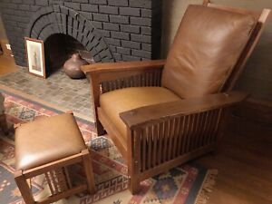 Mission style solid oak reclining chair and ottoman