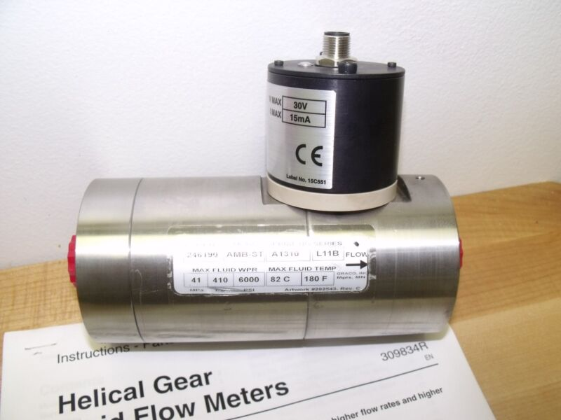 Graco 246190 Amb-st Helical Gear Fluid Flow Meter Hg6000 24b924 Sensor Ser L11b