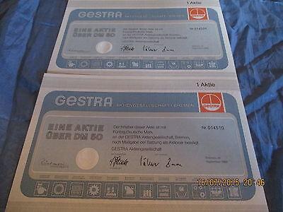 152 : 2 x Wertpapier / histor. ,Aktie ,50 DM ,  GESTRA , Bremen 1983 , 510 + 509