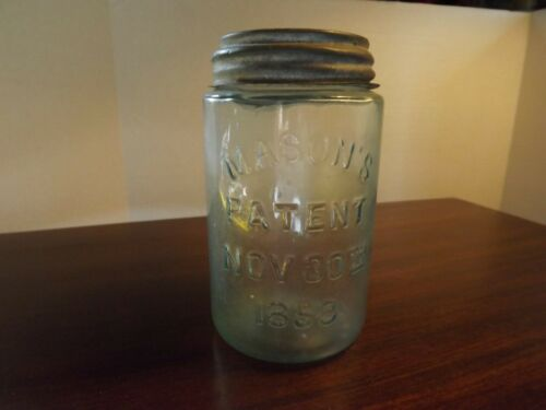 "Antique Blue Mason Jar Patent Nov 30 1958 Air Bubbles ""M2"" on bottom w/Lid 20 oz"