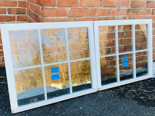 2 - 32 x 27 Vintage Window sash old 6 pane From 1970s Arts & Craft