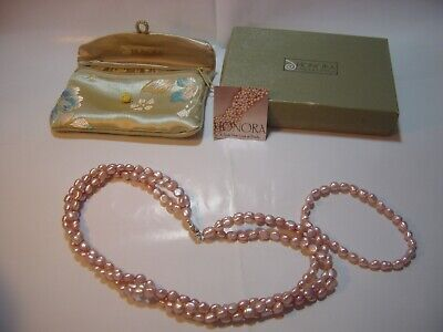 """SUPERB-18"""" QUALITY """"HONORA """" GENUINE PEARLS NECKLACE & BRACELET- SILVER CLASP"""