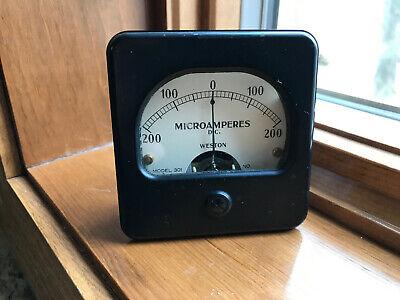 Vintage Weston Panel Meter 0-200 Microamperes Gauge Model 301 Steampunk