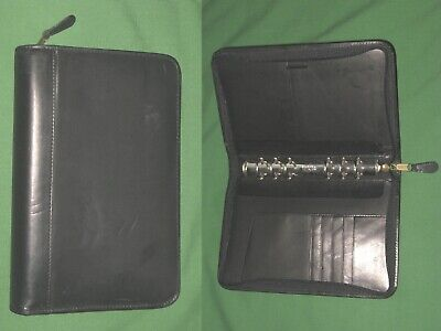 Compact 1.0 Black Leather Day Runner Planner Binder Franklin Covey Organizer
