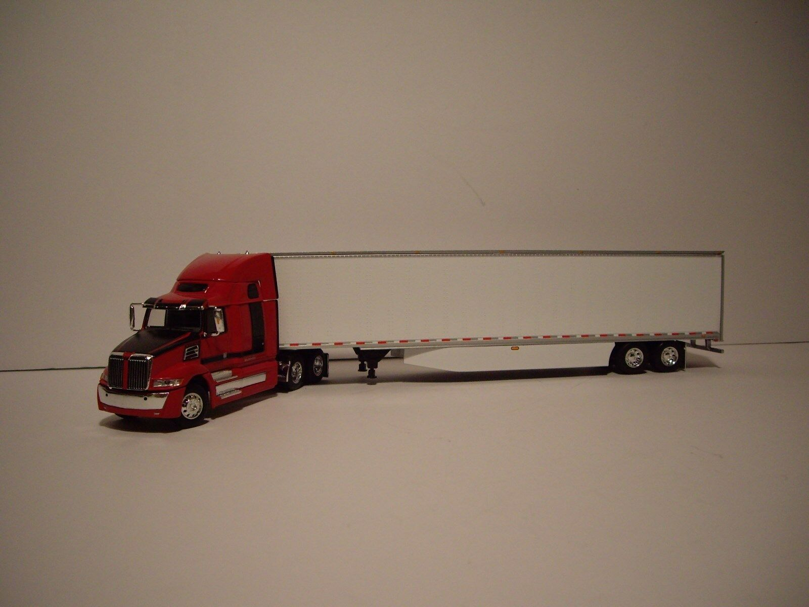 DCP 1/64 RED AND BLACK WESTERN STAR 5700XE W/T 68'' SLEEPER AND DRY VAN TRAILER