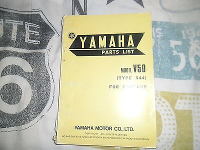 GENUINE YAMAHA PARTS LIST BOOK MODEL V50 1974