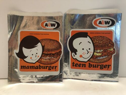Original Vintage A & W Mama Burger and Teen Burger Wrappers 1970