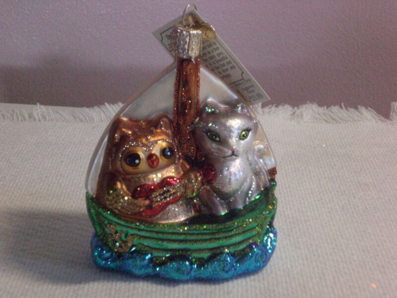 """Old World Chistmas """"Owl & Pussy Cat"""" Glass Ornament"""