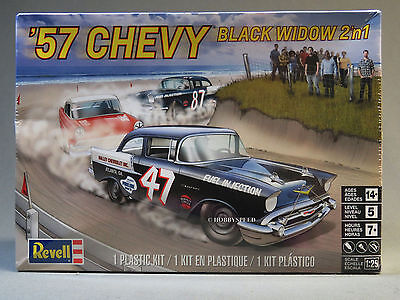 REVELL 1957 CHEVY BLACK WIDOW 2 IN 1 MODEL CAR KIT race 1:25 Scale 85-4441 NEW