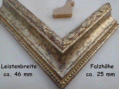 #42 Bilderrahmen Holz alt- silber barock antik rustikal, alle Größen + nach Maß