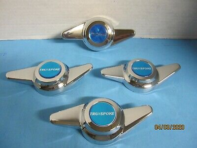 4 CAPS SPINNERS 2 BAR THREAD MOUNT W/BLUE VINTAGE EMBLEM FOR TRUE WIRE WHEELS