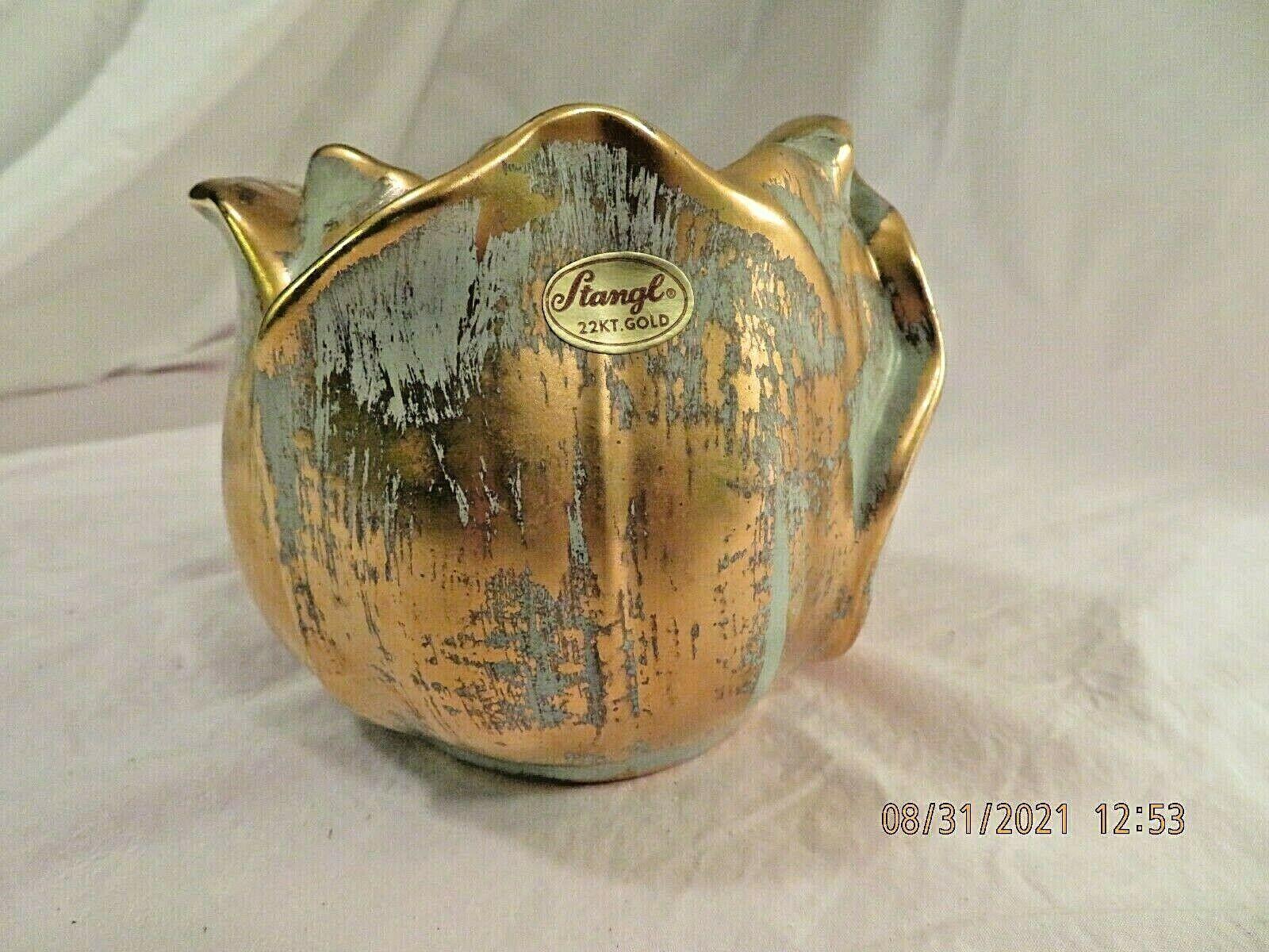 Vtg Stangl Art Pottery Tulip Vase 5144 Hand Painted 22K Gold Washed W/label - $10.00