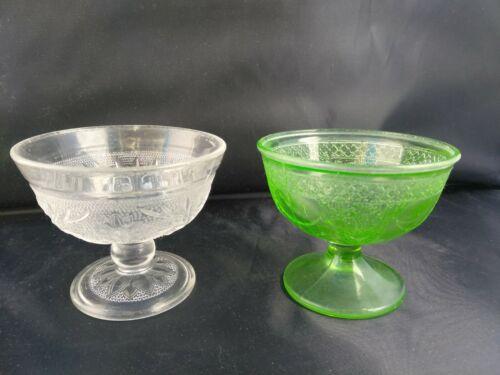 Stunning Antique Vintage 2 Uranium/Vaseline Glass Desert Sherbet Bowls Pedestal