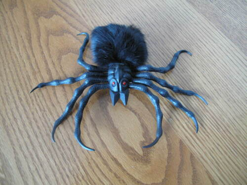 Creepy Hairy Plastic Black Spider Halloween Decor Red Eyes Vintage