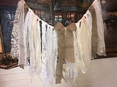 Shabby Chic Achromatic Garland Rag Tie Banner Photo prop boho banner With Bow Ivory